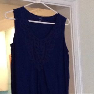 Royal blue sleeveless cotton women's top with lace